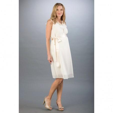 Amelia Ecru Sukienki ciążowe