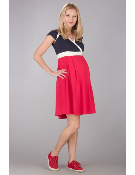 Nadine Navy Red Sukienki do karmienia