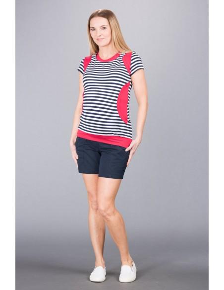 Megan Raspberry Navy Stripe Bluzki do karmienia
